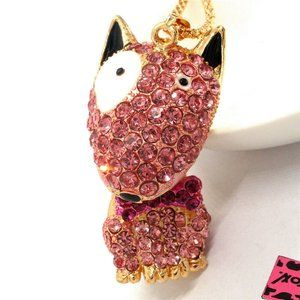 Pink Crystal English Bull Terrier Necklace